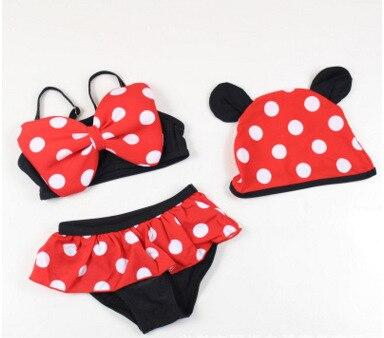 686a74df11fa6 3pcs Red Clothing Christmas Bikini Kids Child Girls Swimsuit Mouse Girls  Minnie Bowknot Child Handmade Newborn Infant Baby Set