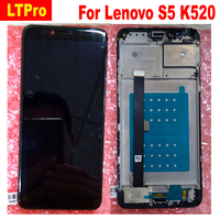 LTPro Black Full LCD Display Touch Screen Digitizer Assembly + Frame / bezel For Lenovo S5 k520 Phone parts Replacement