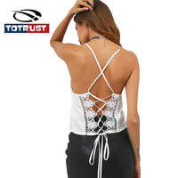 TOTRUST Black Lace Tank Tops Women 2017 Sexy Bandage Camis Vest Crop Top Camisole Top Straped