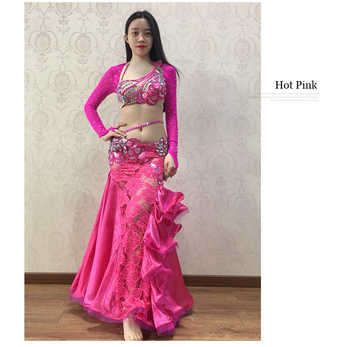 NEW stage Luxury Girls Belly Dance Costumes Long Sleeves Bra+Lace Skirt 2pcs Belly Dance Suit Women Ballroom Dance Set
