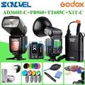 Mais novo Godox AD-360 AD360II-C 360 W Flash Light Speedlite + Bateria + X1C PB960black Transmissor TTL para Canon + TT685C Godox Speedlite