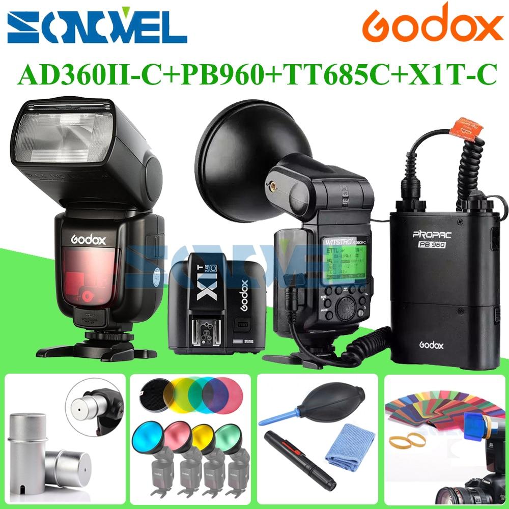 Newest Godox AD-360 AD360II-C 360W Flash Light Speedlite+PB960black Battery+X1C TTL Transmitter for Canon+Godox TT685C Speedlite стоимость