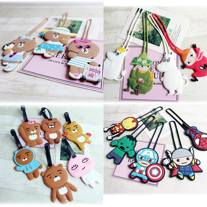 New Silica Gel Travel Accessories Luggage Tag Cartoon Silicone Suitcase ID Addres Holder Baggage Boarding Tags Portable Label