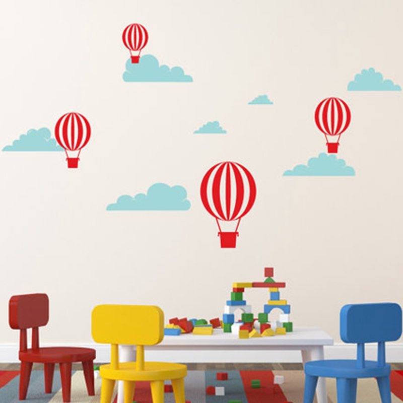 Vinyl Hot Air Balloon Wall Decal Clouds With Air Balloons Simple