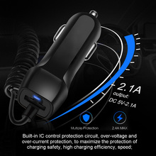 Auto Fast Car Charger with Retractable Cable for Phones