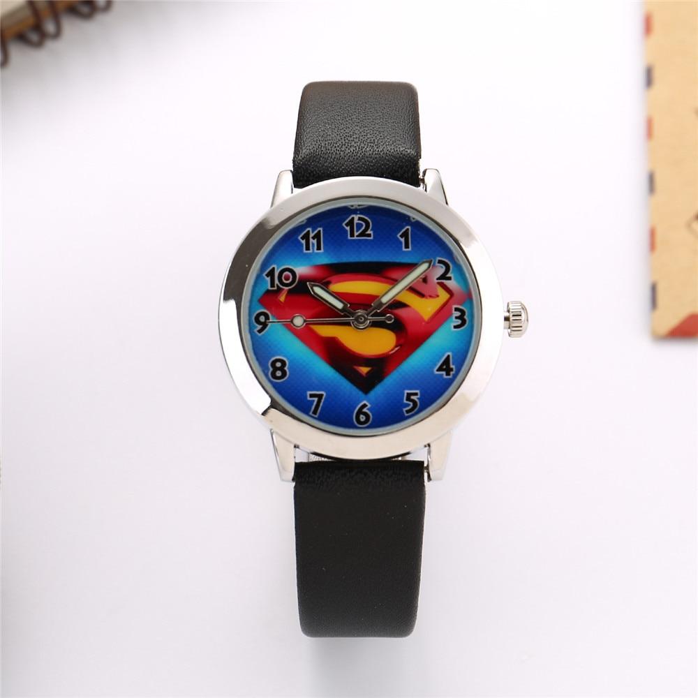 Superman Cartoon Watches Children Kids Watch Boys Girls Clock Child Gift Leather Band Students Quartz Wristwatch Enfant Ceasuiri