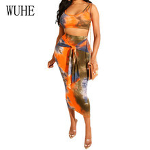 WUHE Two Pieces Sets Lumbar Sexy Tie-dyed Print Dress Sleeveless Hollow Out Lace-up Bodycon Pencil Dress Summer Retro Club Wear fashionable lace up u neck tie dyed sleeveless dress for women