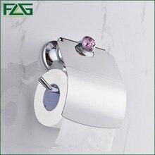 FLG Luxury Chrome Polish Purple Crystal Toilet Paper Holder WC Roll Bathroom