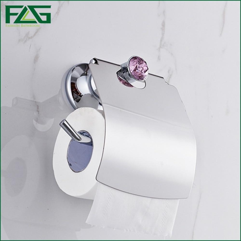 ФОТО FLG Luxury Chrome Polish Purple Crystal Toilet Paper Holder WC Paper Holder Toilet Roll Holder Bathroom Accessories G805