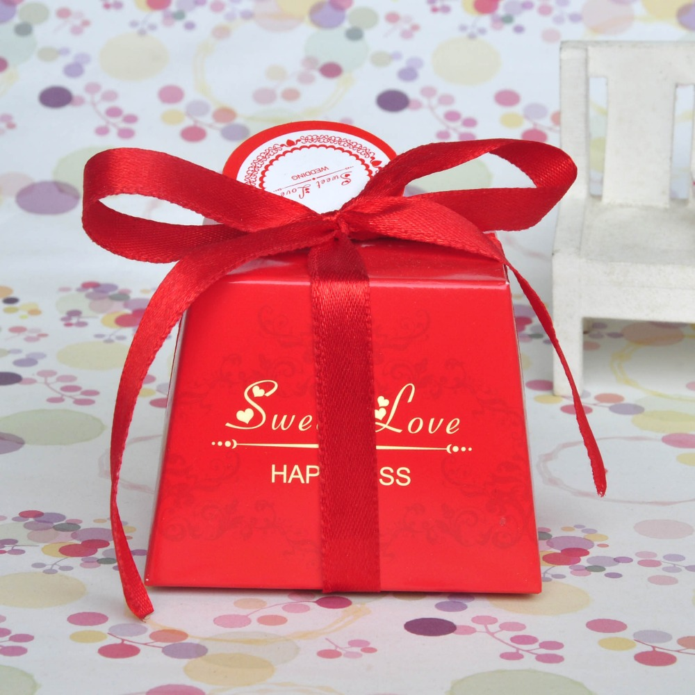 30Pcs/lot Small Sweet Love Favor Candy Box come with ribbon for ...