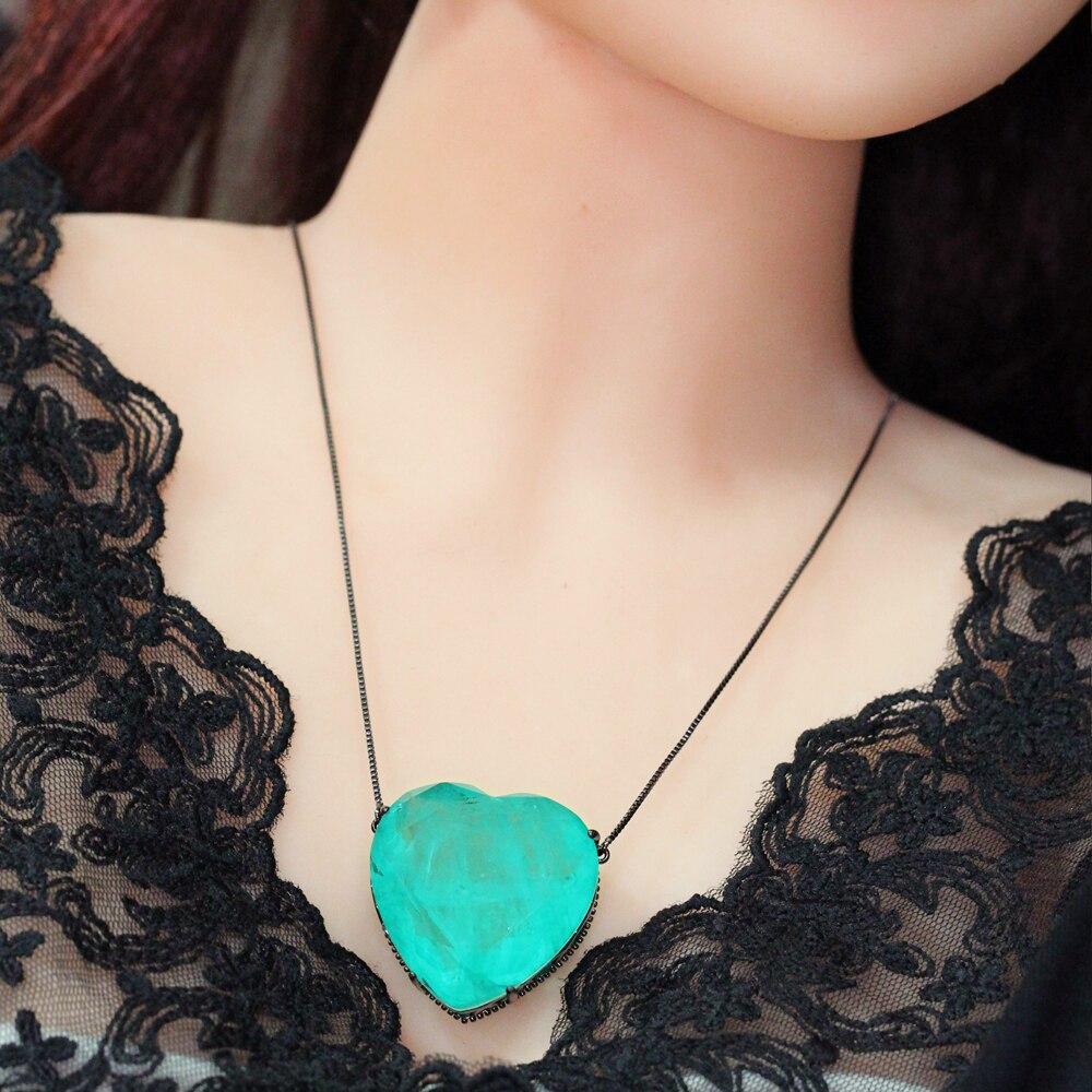 Fusion pierre coeur pendentif collier 30*30mm cristal naturel pendentif naissance pierre longue chaîne collier pour femmes bijoux PFX001842