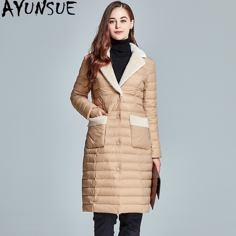 AYUNSUE 2018 Long Ultra Thin Down Jacket Ladies Coat Jackets for Women Fur  Collar Warm Slim c23e6778c0fc