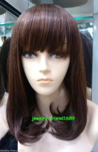 Wholesale heat resistant LY free shipping New wig Heat Resistant Cosplay Medium Women Hair Dark Brown