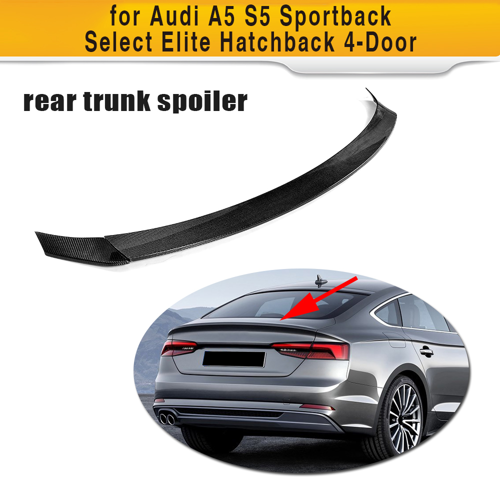Carbon Fiber Rear Trunk Spoiler Wing for <font><b>Audi</b></font> <font><b>A5</b></font> S5 <font><b>Sportback</b></font> Hatchback 4 Door <font><b>2017</b></font> 2018 2019 Not Sedan 3PCS Car Styling image
