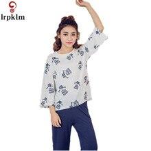 2017 Spring Style Pajamas Sets Women Girl Female Sleep Set Women's O-neck Sexy Shorts Sleepwear Cotton Homewear SY586