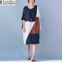 New Fashion ZANZEA Oversized Womens Summer Vintage Patchwork O Neck Short Sleeve Loose Cotton Casual Kaftan