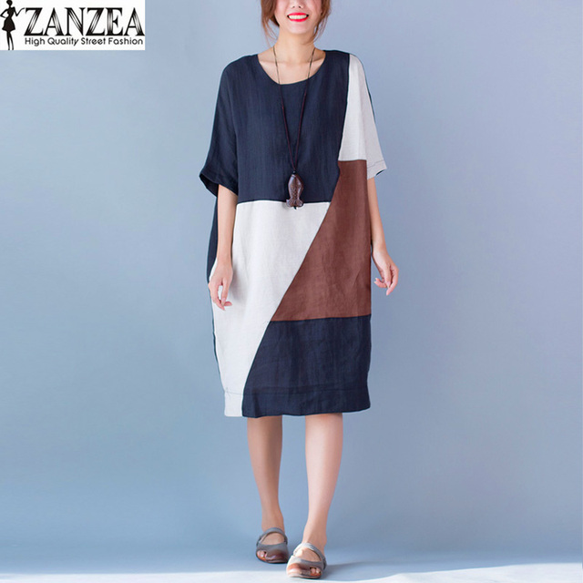 b3f81892bf68 New Fashion ZANZEA Summer Vintage Patchwork O Neck Short Sleeve Loose  Kaftan Cotton Women Casual Shirt Dress Oversized Vestido