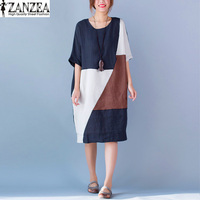 New Fashion ZANZEA Oversized Womens Summer Vintage Patchwork O Neck Short Sleeve Loose Cotton Casual Kaftan