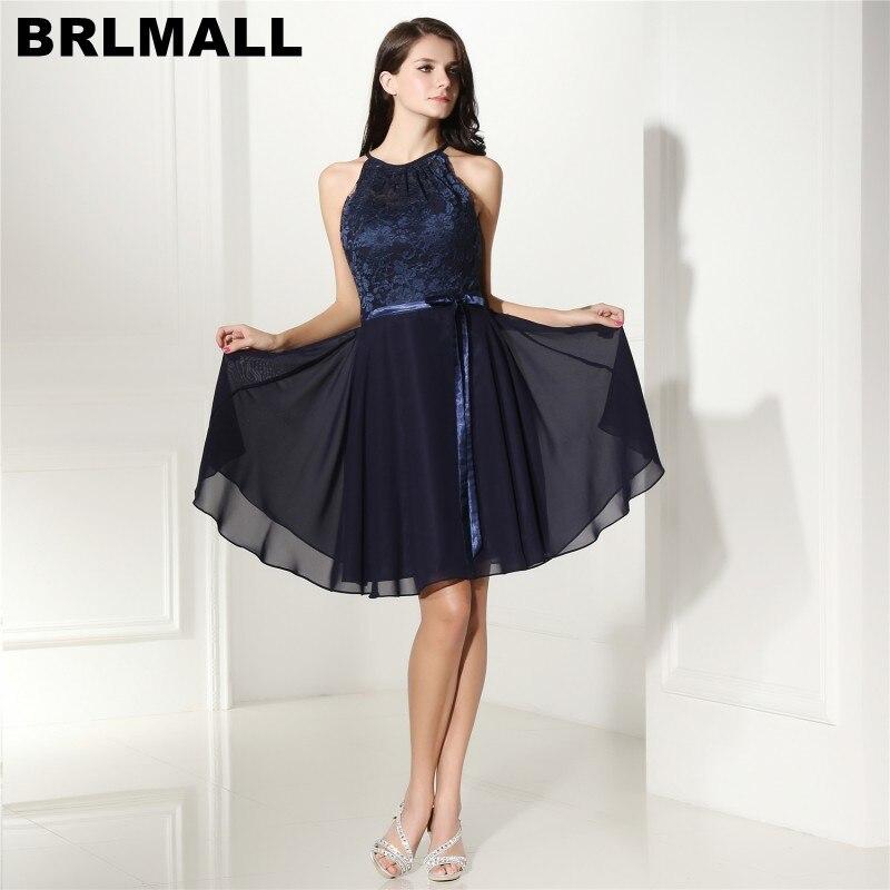 BRLMALL Hot Sale Navy Blue Bridesmaid Dresses Lace Chiffon Knee ...
