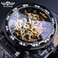 цены Winner Fashion Men Black Hand Wind Mechanical Watch Rhinestone Skeleton Roman Analog Leather Band Business Luminous Male Clock