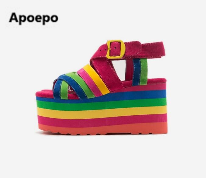 Apoepo brand Summer newest rainbow striped flat platform sandal 2017 sexy open toe buckle strap woman sandal cutouts sandal купить