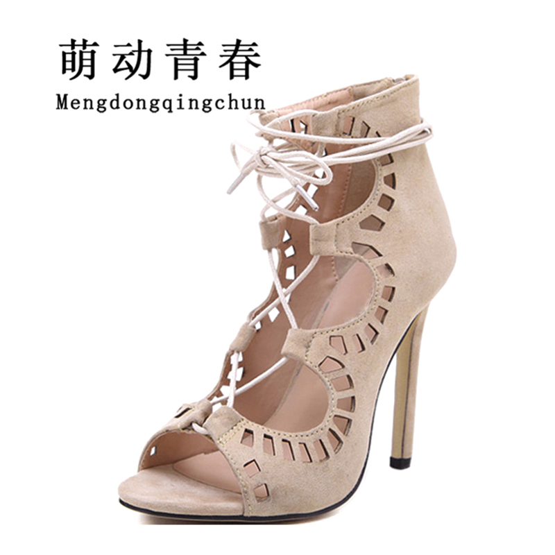Women Sandals Brand Designer Gladiator High Heels Sexy Open Toe Cut Outs Women Shoes Lace Up Shoes Woman Pumps Sandalias Mujer 2017 new summer strappy heels platform woman sandals designer sandals for women sexy brand closed toe gladiator sandal