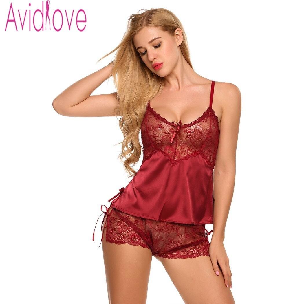 af6f5ceb6f5 Avidlove Homewear Sexy Silk Satin Women's Pajamas Lingerie Set Lace Pijama  Mujer V neck Nightgown Sleepwear Nightwear for Women-in Pajama Sets from ...