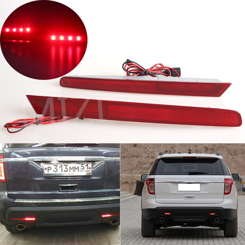 MZORANGE 2 Pcs Red LED Bumper Reflectors Tail Light Rear Fog Brake Lights For Ford Explorer 2011 2012 2013 2014 2015 Euro Style for land rover discovery 4 lr4 accessories abs dark wood grain center console ac outlet cover trim sticker for lhd 2pcs set