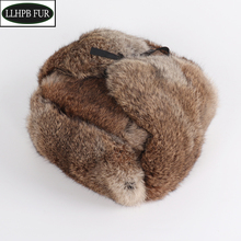Bomber-Caps Hats Real-Fur-Hat Russian Winter Women Warm Unisex Full-Pelt 100%Natural
