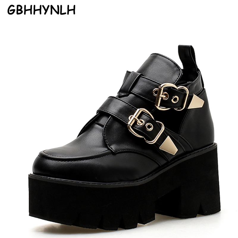Womens Boots Winter Fashion Platform High Heel Boots Ladies Ankle Boots Punk Rock Motorcycle Boots Black Platform Shoes LJA415 high quality womens fashion high heel lace up ankle boots ladies buckle platform shoes