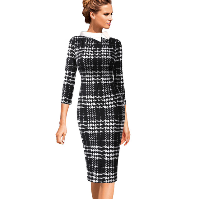 679a1eb2f2 Vfemage Womens Celebrity Summer Colorblock Contrast Collar Work Business  Casual Party Stretch Bodycon Pencil Sheath Dress