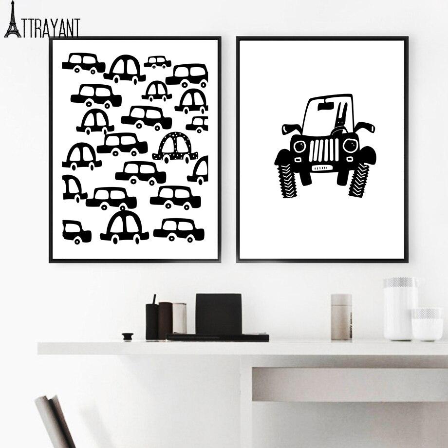 ATTRAYANT Car Canvas ներկով սև և սպիտակ - Տնային դեկոր