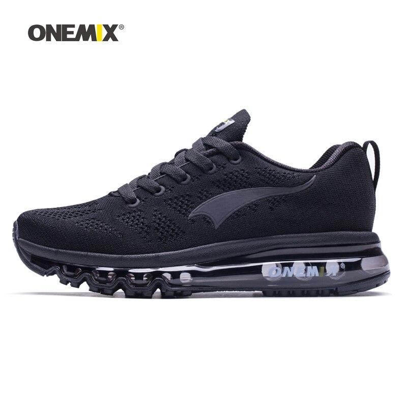 ONEMIX для мужчин кроссовки для женщин хороший Zapatillas спортивные кроссовки Черный Air подушки Открытый обувь кроссовки для бега, ходьбы