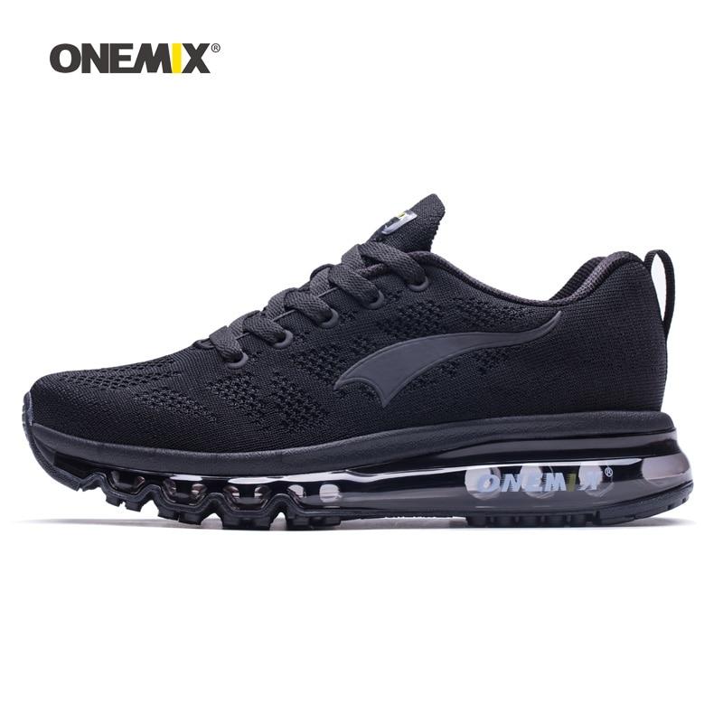 Onemix Для мужчин кроссовки для Для женщин хороший Zapatillas спортивные кроссовки черные спортивные воздушной подушке Открытый Бег Прогулки крос...