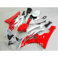ABS full fairing kit fit for yamaha r6 injection molding 2006 2007 red black white plastic fairings set YZF R6 06 07 QU137