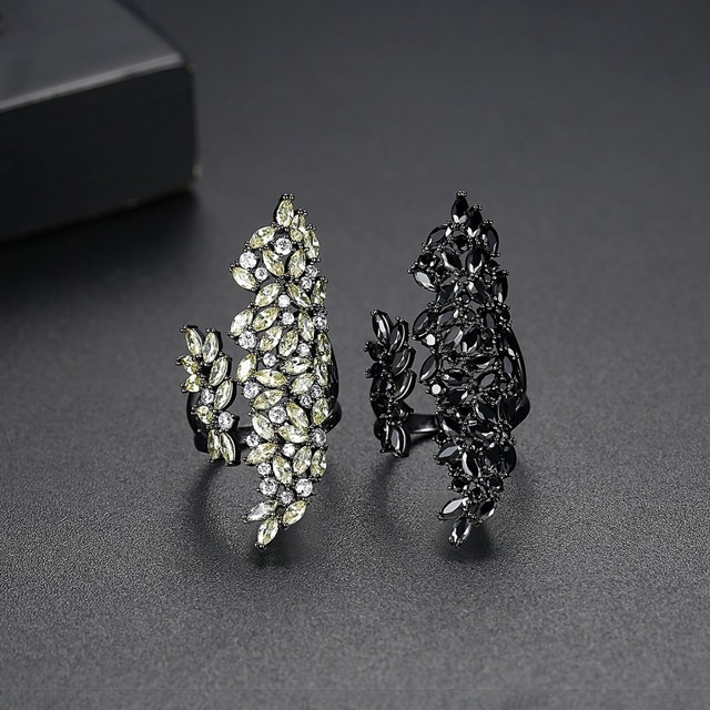 LUOTEEMI Hyperbole Irregular Resizable Ring for Women Girls Party Dating with Black or Yellow CZ Fashion Jewelry Bijoux Gift