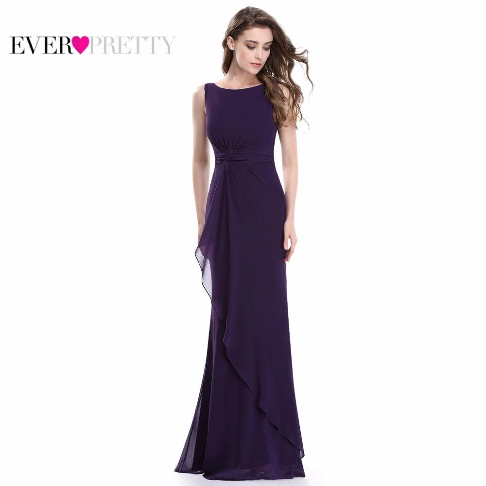 Ever Pretty Women's Elegant Evening Dresses EP08796 Round Neck Ruffles Sleeveless V Back Long Formal Evening Party Dreseses