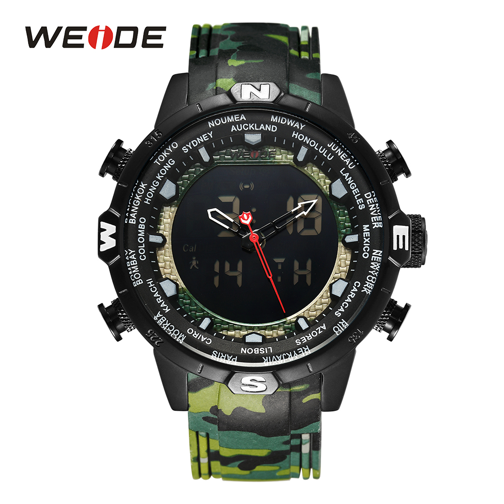 WEIDE Men Sport Watches Quartz Alarm Chronograph Date Digital Display Analog Camouflage Army Military Rubber Strap Wristwatch цена