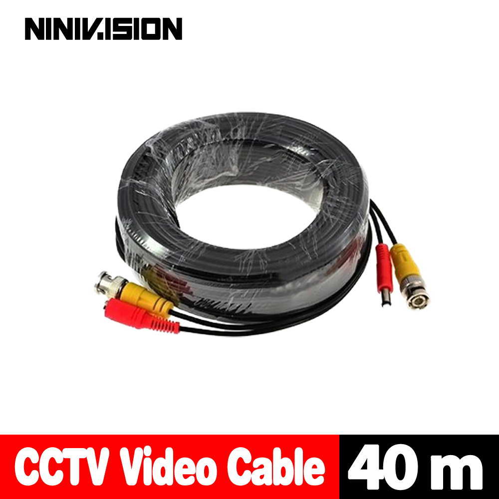 NINIVISION Free Shipping 40m cctv cable Video Power Cable high quality BNC + DC Connector for CCTV Security Cameras kit 5pcs cctv bnc accessories professional male dc power converter for led dc cctv security cameras