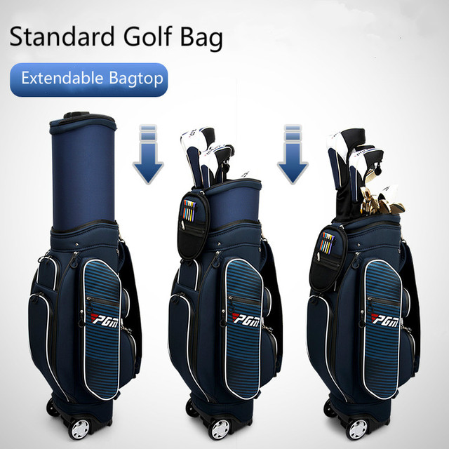 95812a575486 US $216.6 5% OFF|Standard Golf Bag Extendable Bagtop Waterproof Fabric 6  Divisions Golf Travel bag with Big Roller wheel Free Raincover-in Golf Bags  ...