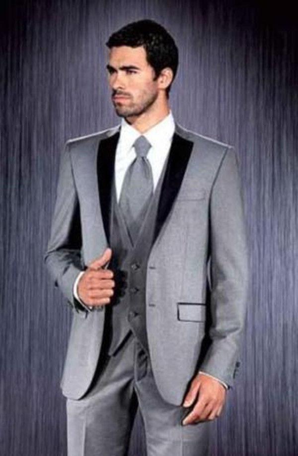 Los hombres por encargo trajes gris unidades boda trajes novio esmoquin  partido trajes chaqueta pantalones chaleco eb43981db9e