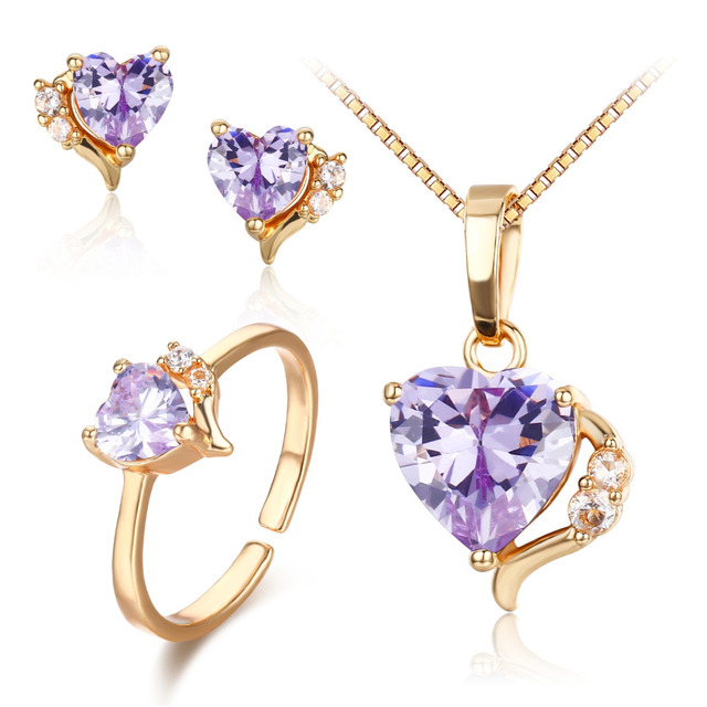 Cute Gold Color Violet Purple CZ Heart CZ Ring Pendant Necklace and Earrings Small Jewelry Sets For Women Children Girls Kids