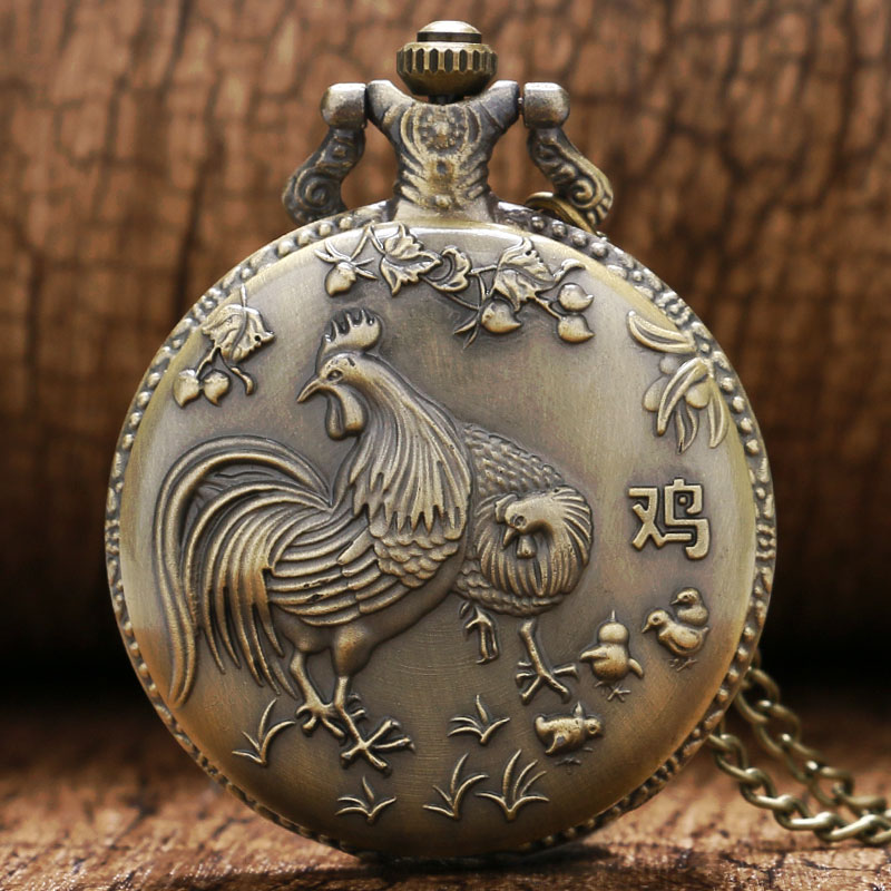 Hot Chinese Zodiac Bronze Rooster Hen Cocks 3D Design Zodiac Of Chicken Pocket Watch Necklace Chain Full Hunter Clock Male