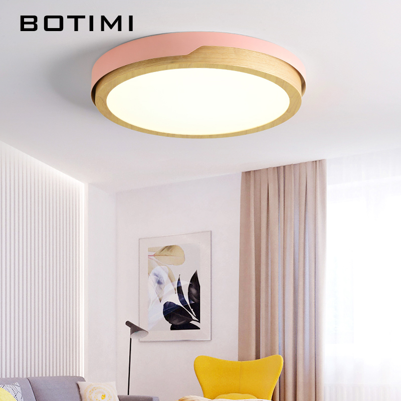 Image 3 - BOTIMI 220V LED White Round Ceiling Lights Nordic Style Surface Mounted Bedroom Lamp Living Room Wooden Kitchen Lighting Fixture-in Ceiling Lights from Lights & Lighting