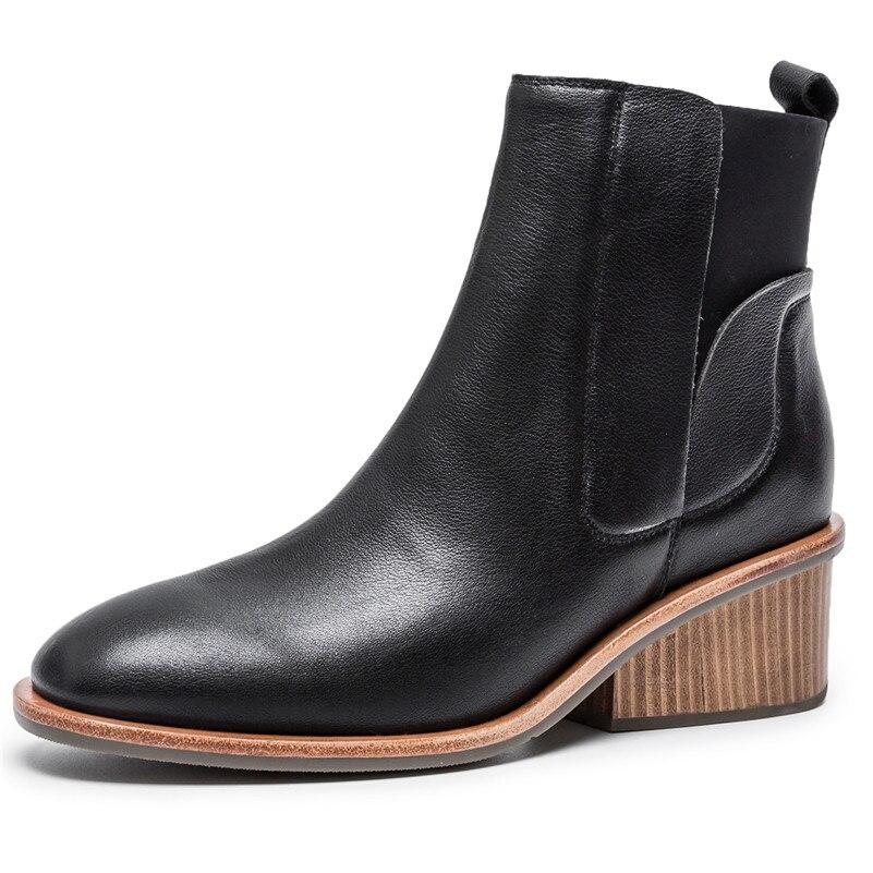 Chaussures Pompes Talons Martin Femme Basiques Rétro 2019 noir Conasco Hauts Bottines Automne Bottes Nouvelles 1 Femmes Hiver En Cuir Véritable bf7gyv6Y
