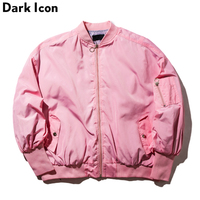 Elastic Sleeve Men's Bomber Jacket 2018 Spring Streetwear Think Style Pink Jacket Men Oversized Hip Hop Jackets Men Clothing