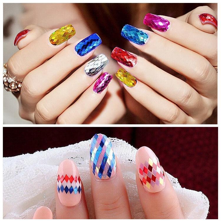 topkwaliteit 1 fles 3D nail art Glitter Pailletten ultradunne Rhombus - Nagel kunst - Foto 6