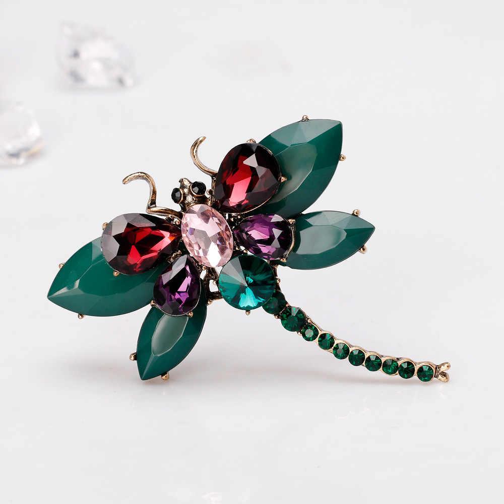 Cindy Xiang Baru Resin Warna-warni Besar Dragonfly Bros untuk Wanita Fashion Elegan Berlian Imitasi Serangga Bros Pin Hadiah Yang Bagus