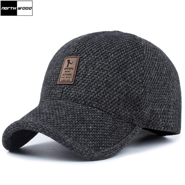 8ca4d2b1b42  NORTHWOOD  2018 Winter Baseball Cap Men Branded Winter Snapback Hat with  Earflap Warm Trucker Cap Bone Casquette Homme