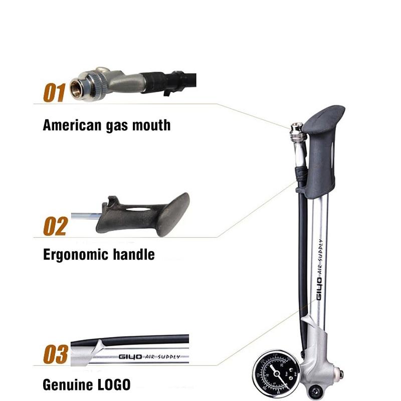 New Giyo GS02D Bike <font><b>Pump</b></font> Portable Air Supply Fork Air Pressure <font><b>Pump</b></font> With Hose Barometer Cycling Mtb Bicycle Air Supply Inflator